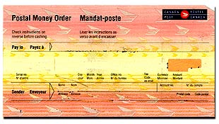 This Image Is That Of The Canadian Domestic Postal Money Order We Have No Means To Cash Type Valid Only In Country Its Origin