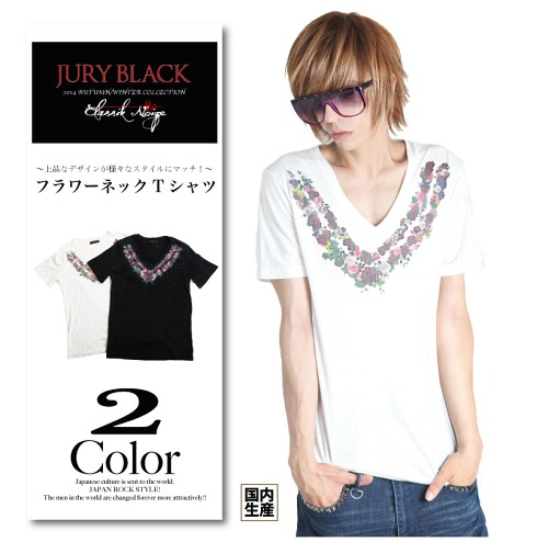 Flower Neck T-Shirt / JURY BLACK