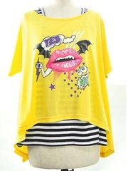 LIP MONSTER Tops + Embroidered Striped Tank Top Yellow