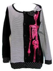 Stripes & Polka Dots Skeleton Cardigan  Black
