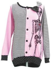 Stripes & Polka Dots Skeleton Cardigan  Pink