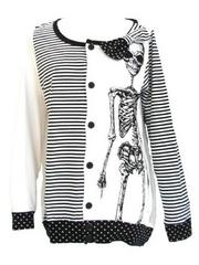 Stripes & Polka Dots Skeleton Cardigan  White