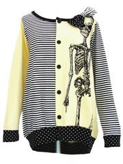 Stripes & Polka Dots Skeleton Cardigan  Yellow
