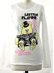 Radio Cassette Recorder Bear Long Sleeve Crew Neck Cutsaw Offwhite