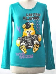 Radio Cassette Recorder Bear Long Sleeve Crew Neck Cutsaw Emerald