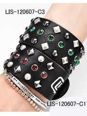 Studded Leather Wristband Red